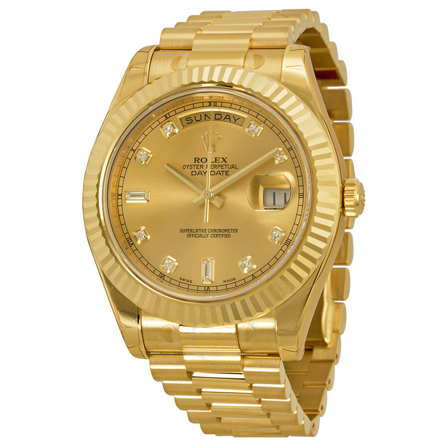 rolex day date ii chagne 18k yellow gold president
