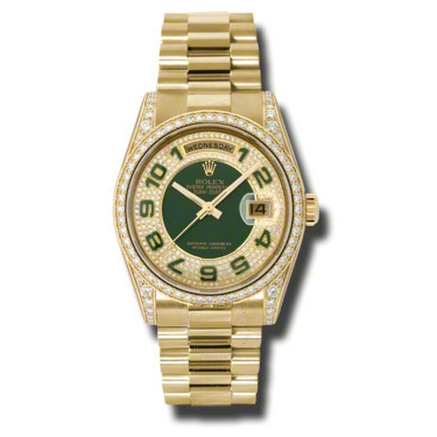 Day-Date Pave Green Automatic 18kt Yellow Gold LadiesWatch118388PGAP