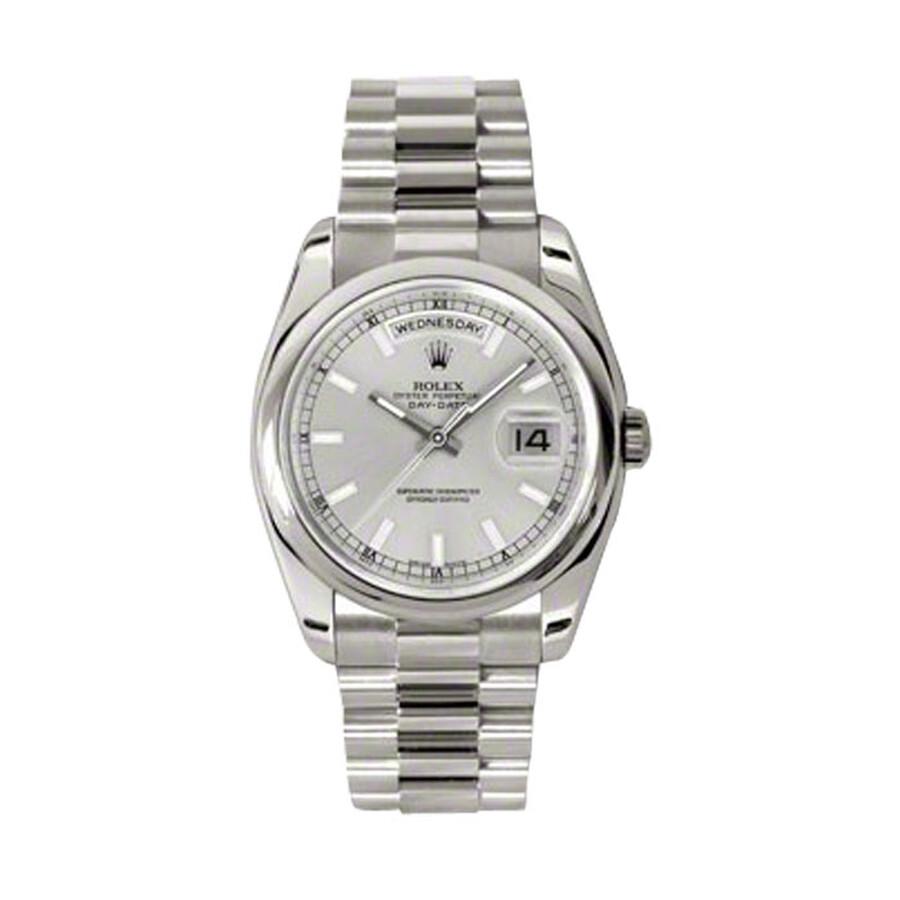 Rolex Day,Date Silver Dial 18K White Gold President Automatic Men\u0027s Watch  118209SSP
