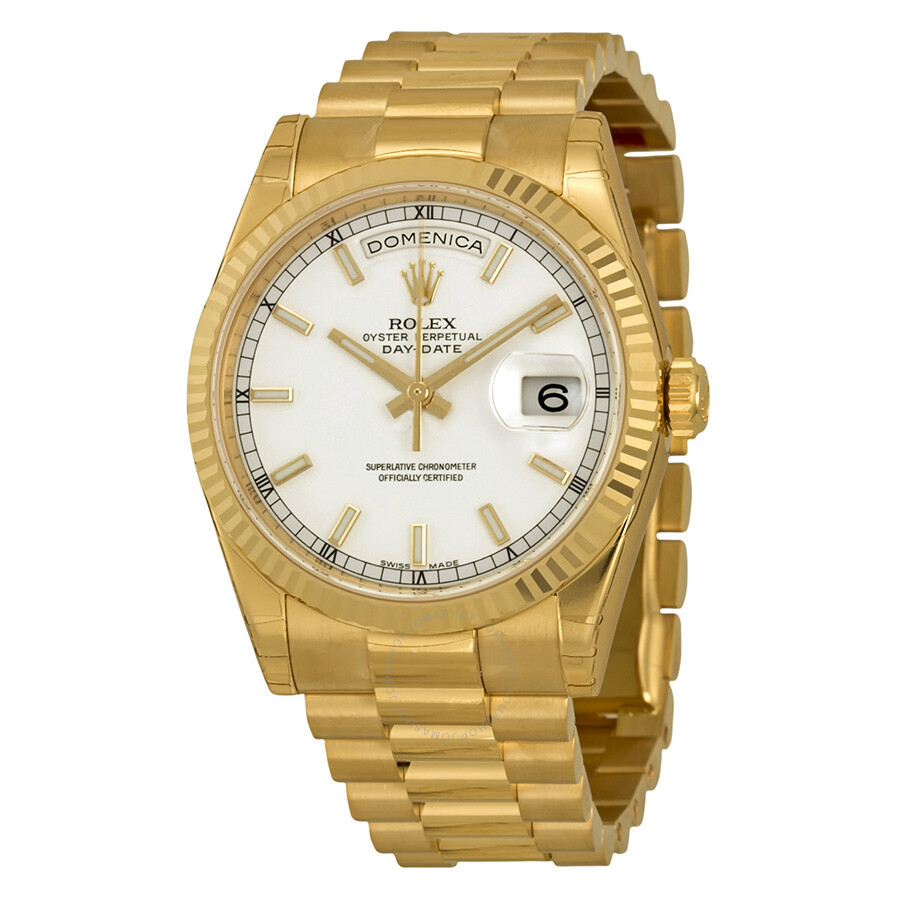 Rolex Day-Date White Dial 18K Yellow Gold President ...