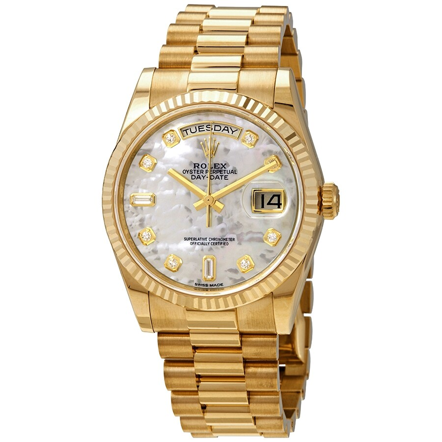 Rolex Day,Date White Mother,Of,Pearl Dial 18K Yellow Gold President  Automatic Men\u0027s Watch 118238MDP
