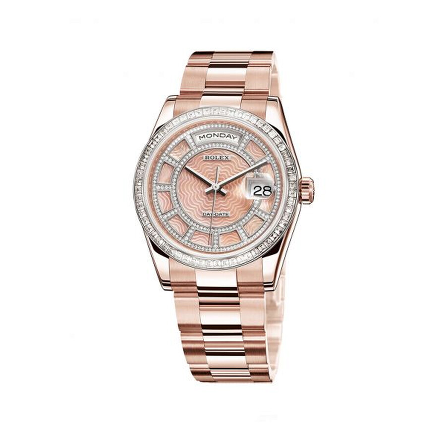 Rolex Day-Date Carousel of Pink Mother of Pearl Dial 18ct Everose gold  Automatic Unisex Watch 118395BR