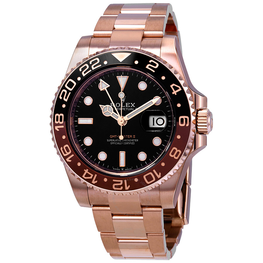Rolex Gmt Master Ii Automatic Men S 18kt Everose Gold Oyster Coke Bezel Watch 126715bkso