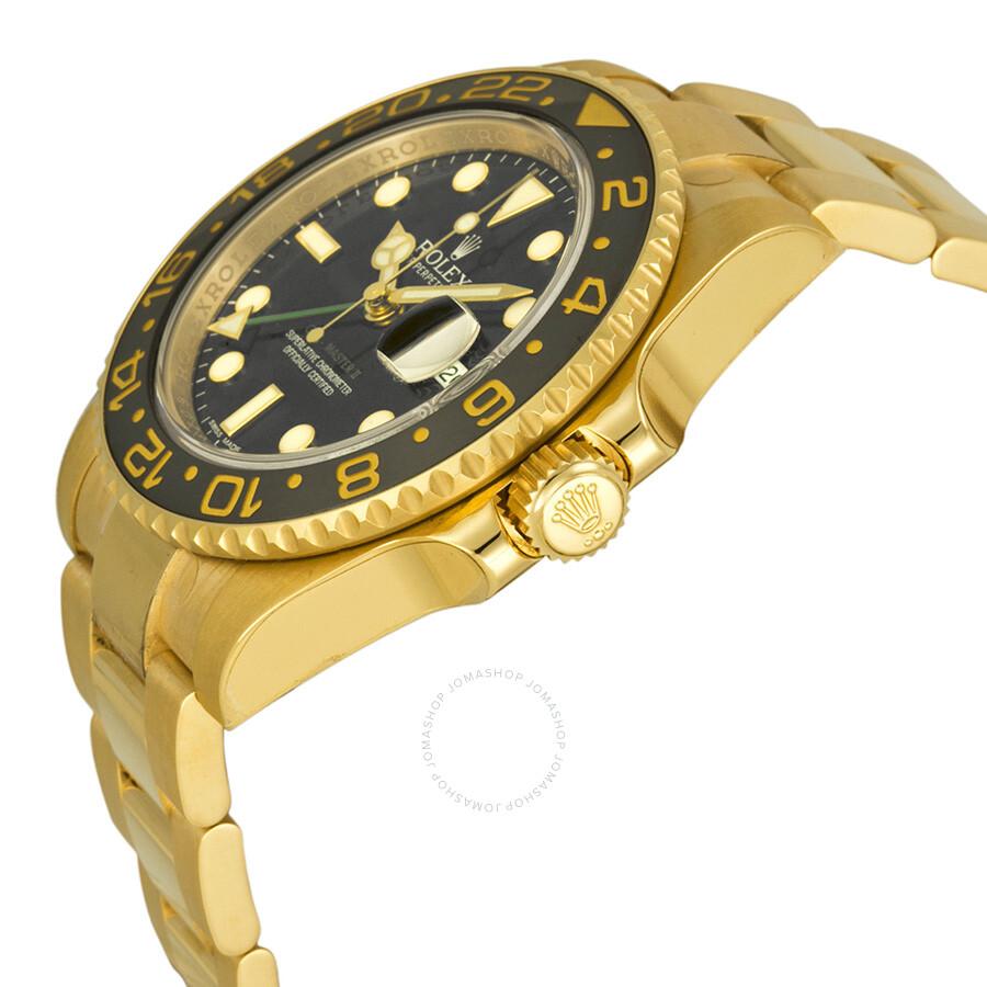 rolex gmt master ii black dial 18k yellow gold oyster. Black Bedroom Furniture Sets. Home Design Ideas