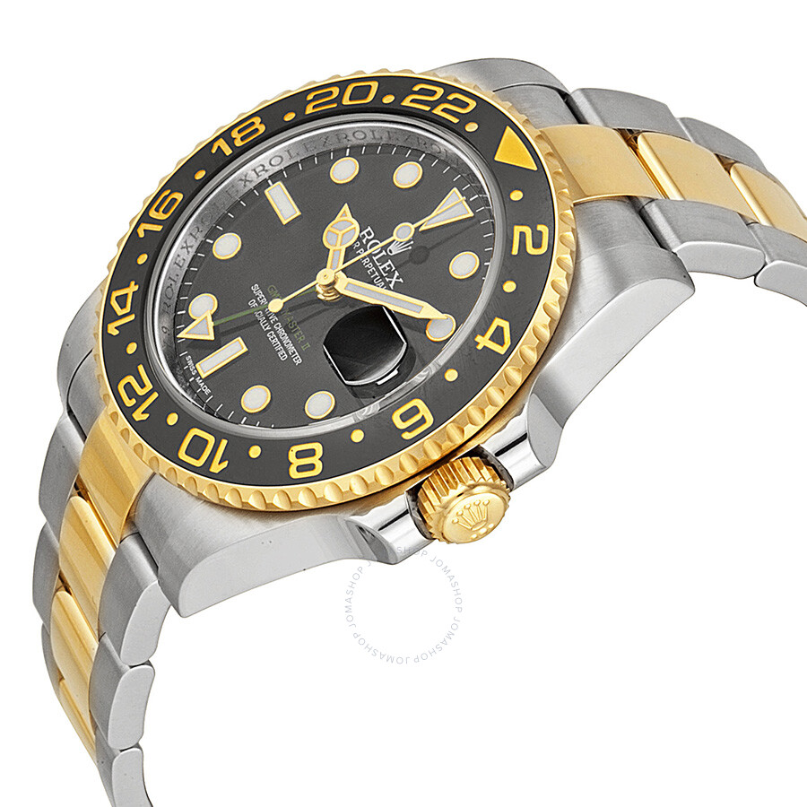 Rolex gmt master ii black dial stainless steel and 18kt yellow gold rolex oyster automatic men 39 s for Rolex gmt master