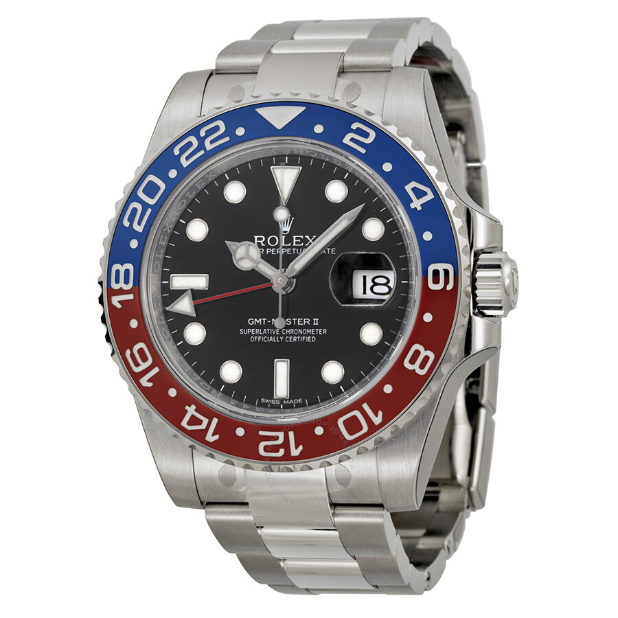 Rolex Gmt Master Ii Black Lacquer Dial 18k White Gold