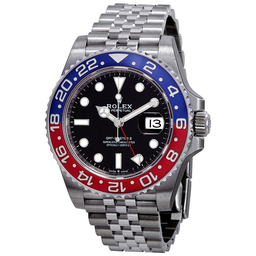 Rolex gmt master ii pepsi blue and red bezel stainless steel jubilee watch 126710bksj gmt for Jubilee watch