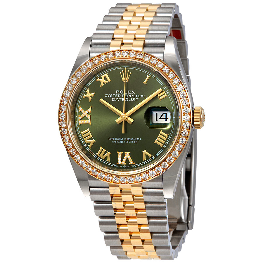 Rolex green diamond dial automatic ladies steel and 18k yellow gold jubilee watch 126283gnrdj for Jubilee watch