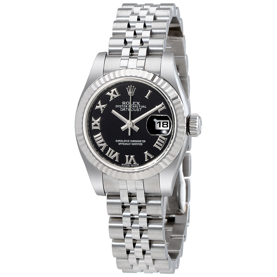 Rolex datejust black roman dial jubilee bracelet 18k white gold fluted bezel ladies watch for Jubilee watch