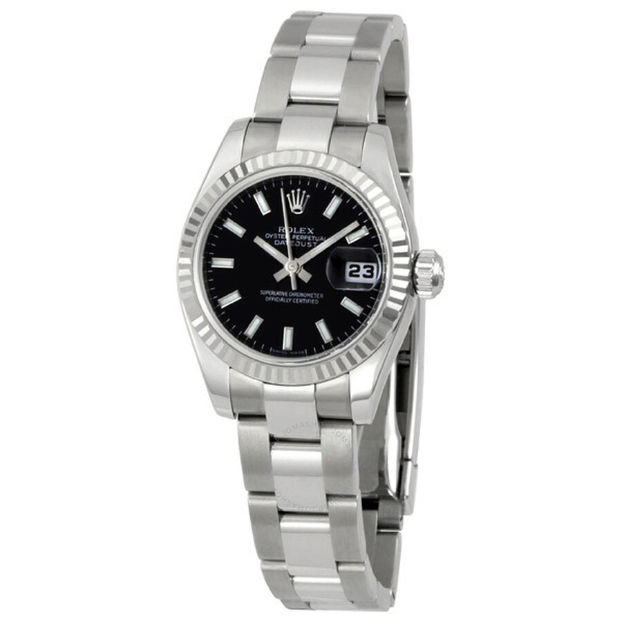 Rolex Lady Datejust 26 Black Dial Stainless steel Oyster Bracelet Automatic  Watch 179174BKSO Item No. 179174 bkso 6122e559bb