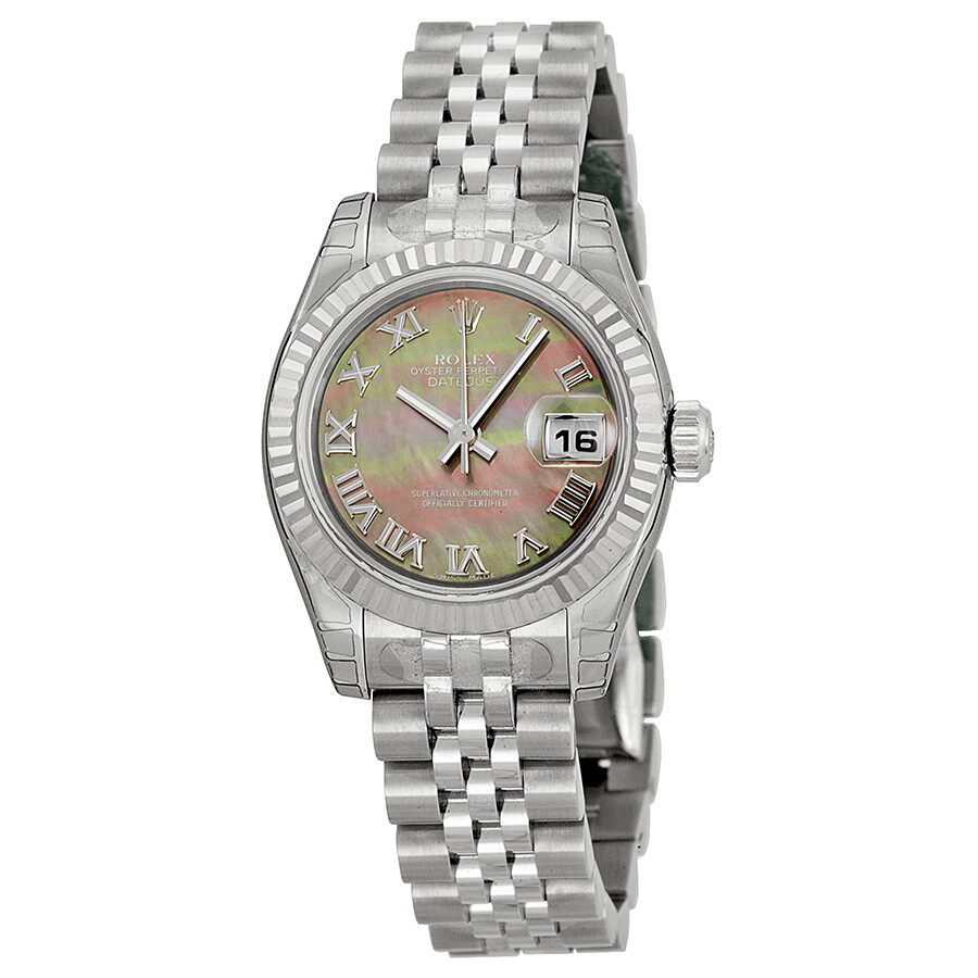 Rolex lady datejust 26 black mother of pearl dial stainless steel jubilee bracelet automatic for Mother of pearl dial watch