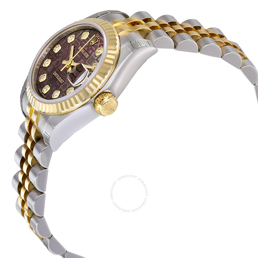 01d67db41b34 ... Rolex Lady Datejust 26 Black Mother of Pearl Dial Stainless Steel and  18K Yellow Gold Jubilee ...