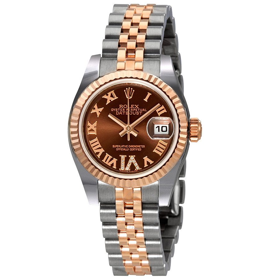 rolex lady datejust 26 chocolate brown dial stainless. Black Bedroom Furniture Sets. Home Design Ideas