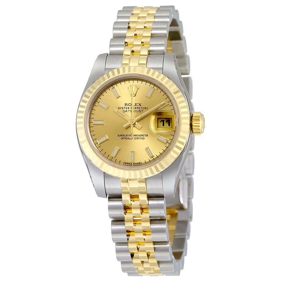 Rolex datejust champagne index dial jubilee bracelet two tone ladies watch 179173csj lady for Jubilee watch