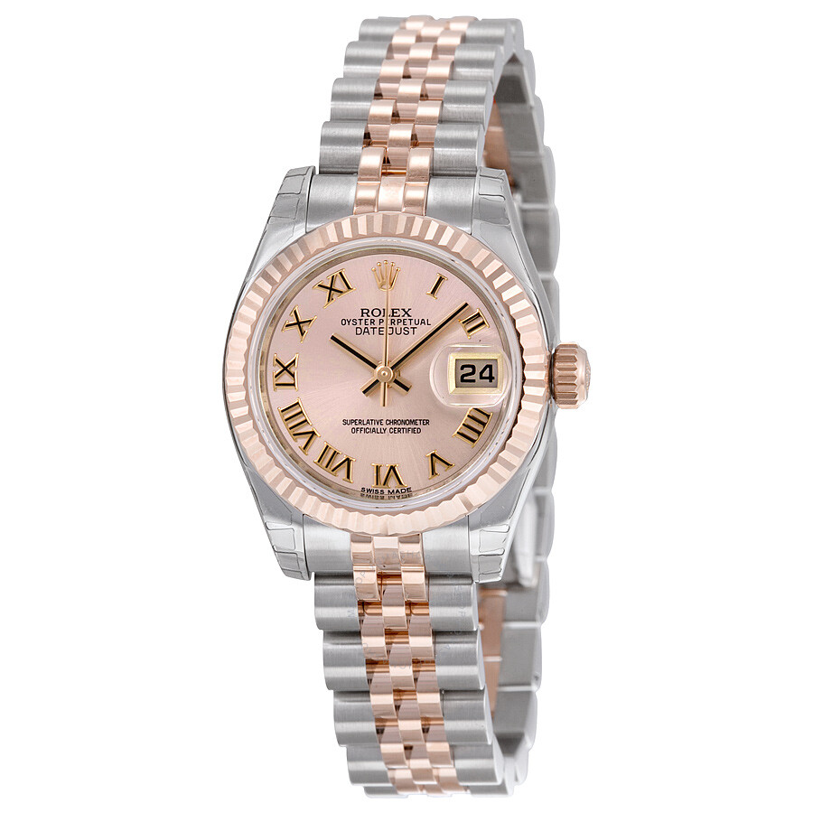 rolex lady datejust 26 pink dial stainless steel and 18k. Black Bedroom Furniture Sets. Home Design Ideas