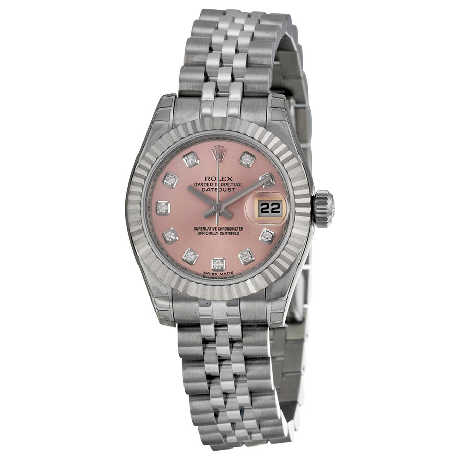 3adcf2ba86a3 Rolex Lady Datejust 26 Pink With 10 Diamonds Dial Stainless Steel Jubilee  Bracelet Automatic Watch 179174PDJ Item No. 179174-PDJ