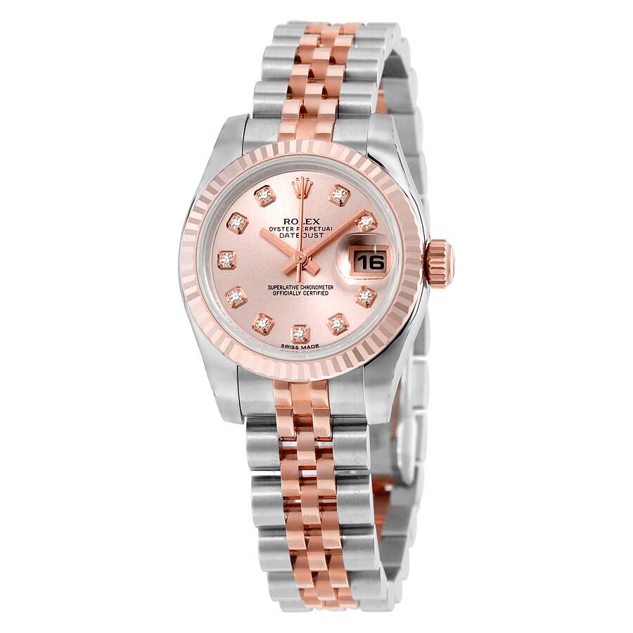 rolex datejust rose diamond dial jubilee bracelet two tone
