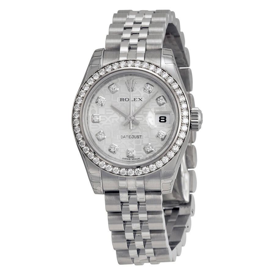Rolex lady datejust 26 silver dial stainless steel jubilee bracelet automatic watch 179384sjdj for Jubilee watch