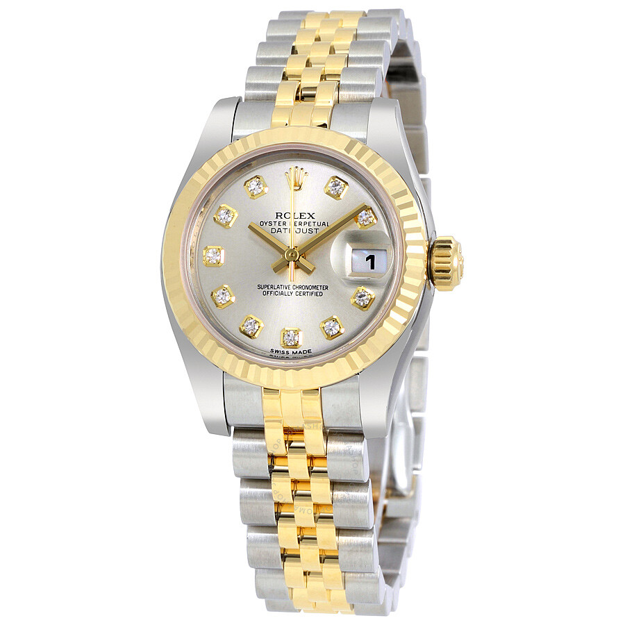 5a8f36550974 Rolex Lady Datejust 26 Silver With 10 Diamonds Dial Stainless Steel and 18K  Yellow Gold Jubilee ...