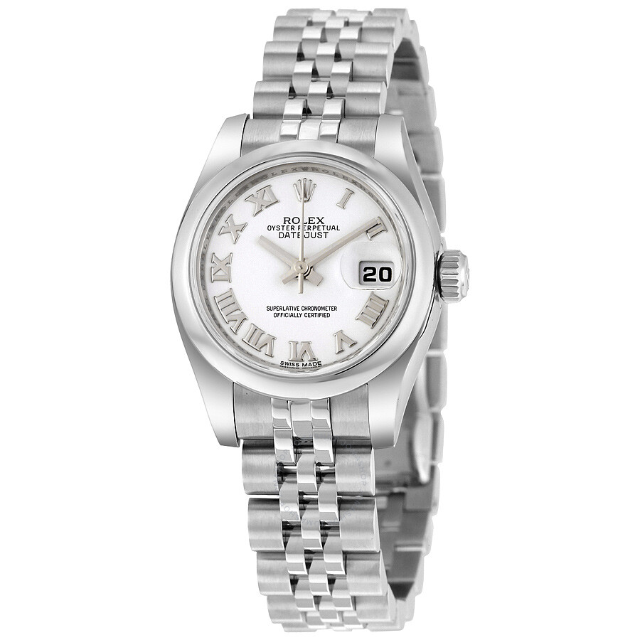 Rolex lady datejust 26 white dial stainless steel rolex jubilee automatic watch 179160wrj lady for Jubilee watch