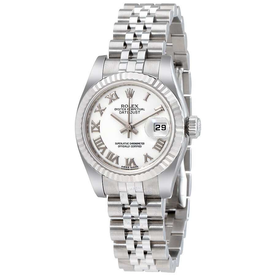 Rolex lady datejust 26 white dial stainless steel rolex jubilee automatic watch 179174wrj lady for Jubilee watch