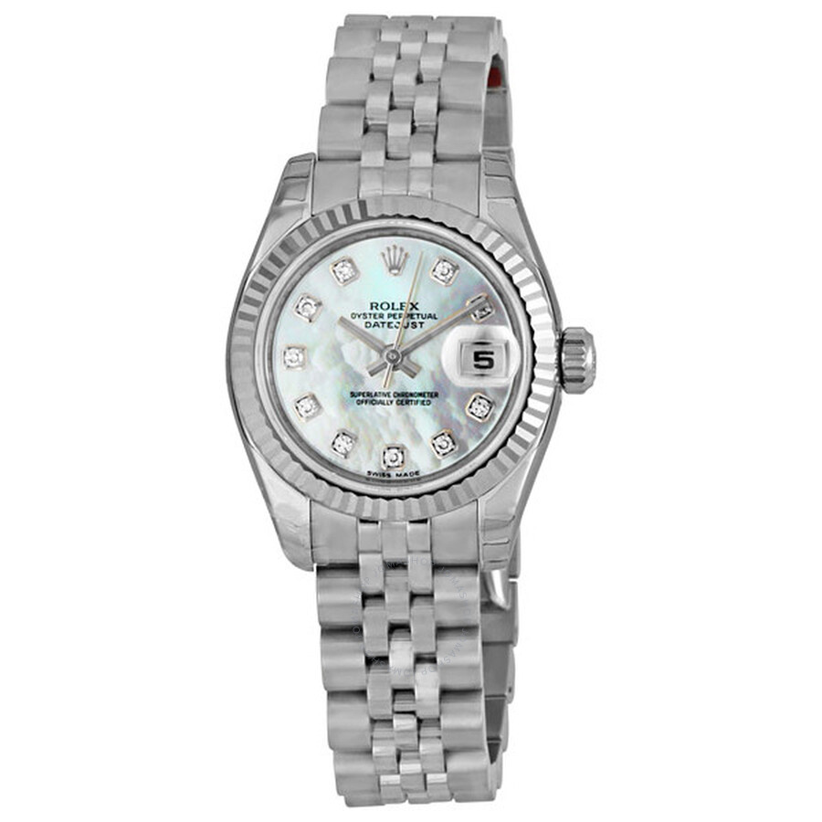 eb90598799cc Rolex Lady Datejust 26 White Mother of Pearl with 10 Diamonds Dial  Stainless Steel Jubilee Bracelet Automatic Watch 179174MDJ Item No.  179174-MDJ
