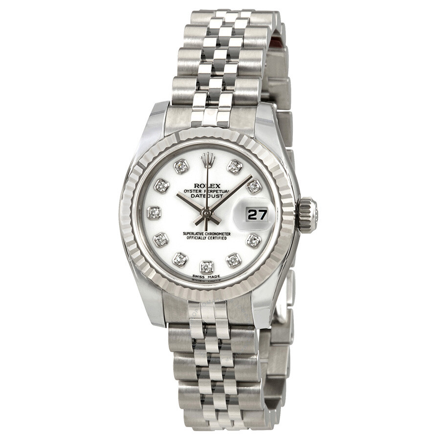 Rolex lady datejust 26 white with 10 diamonds dial stainless steel rolex jubilee automatic watch for Jubilee watch