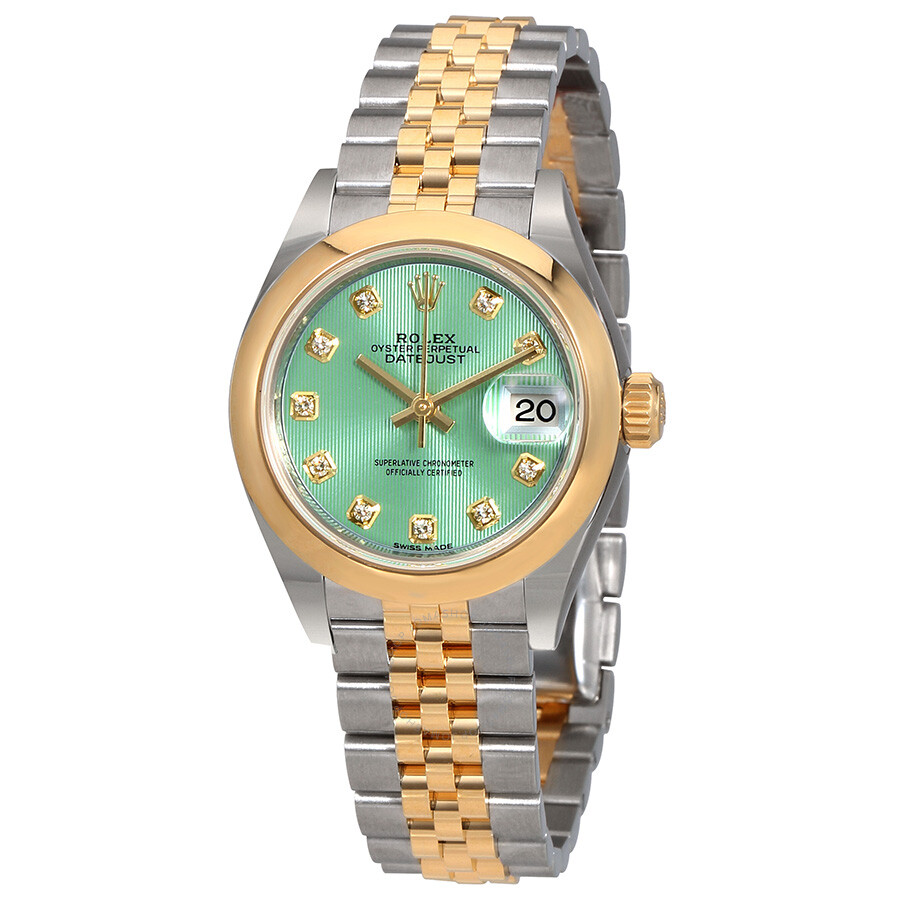Rolex Lady Datejust 28 Mint Green Steel And 18kt Yellow Gold Jubilee Watch 279163gndj