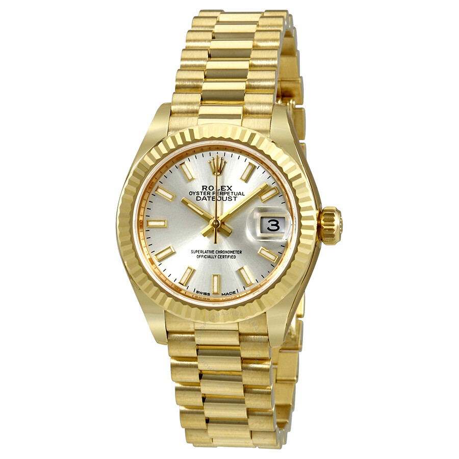 rolex lady datejust 28 silver dial 18k yellow gold