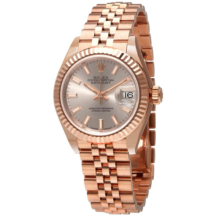 Rolex Lady Datejust 28 Sundust Dial 18k Pink Gold Jubilee Bracelet Automatic Watch 279175snsj