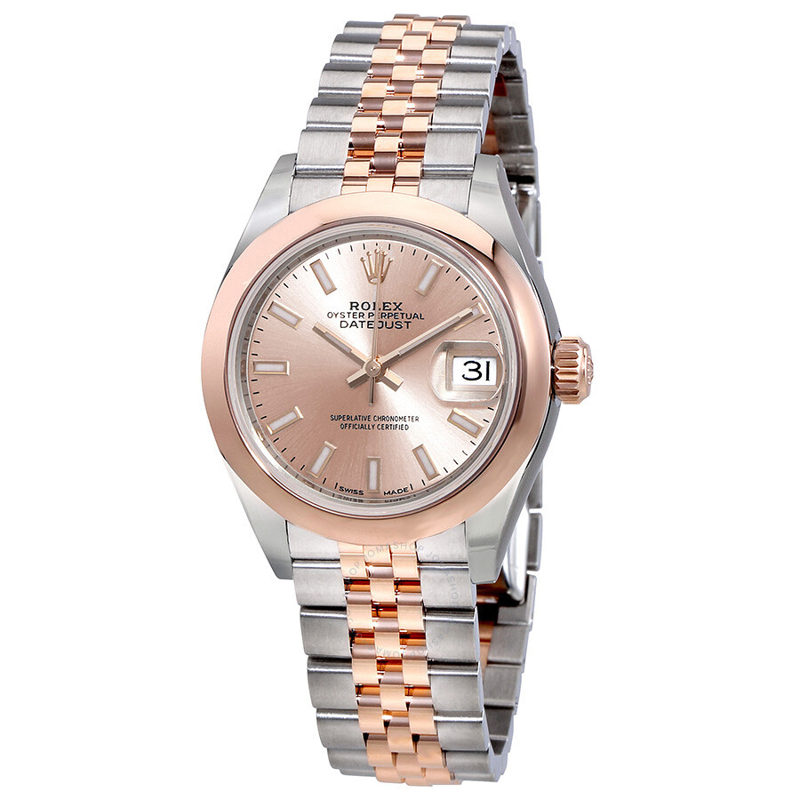 rolex lady datejust 28 sundust dial steel and 18k everose gold watch 279161snsj lady datejust