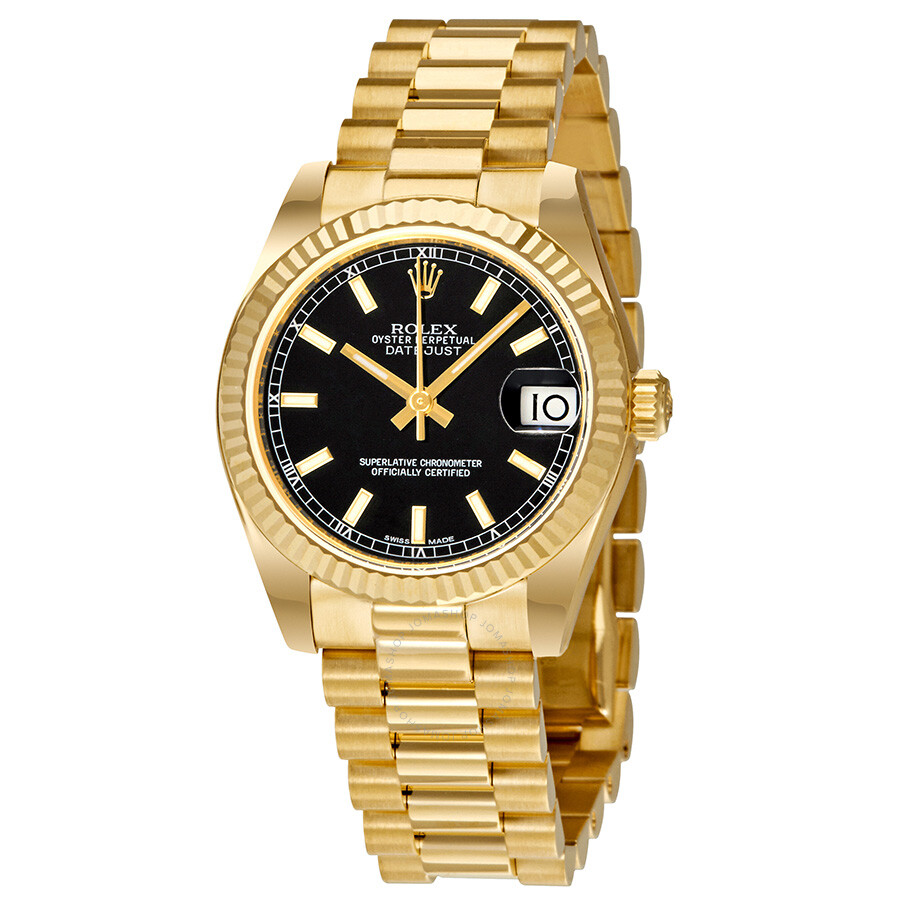 Rolex Lady-Datejust 31 Black Dial 18K Yellow Gold President Automatic Ladies Watch ...
