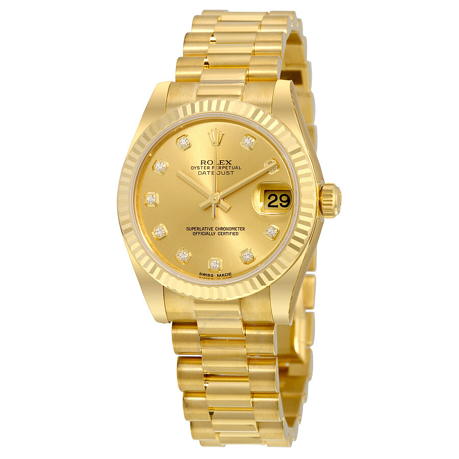 Rolex lady datejust 31 champagne dial 18k yellow gold president automatic ladies watch 178278cdp for Rolex date just 31