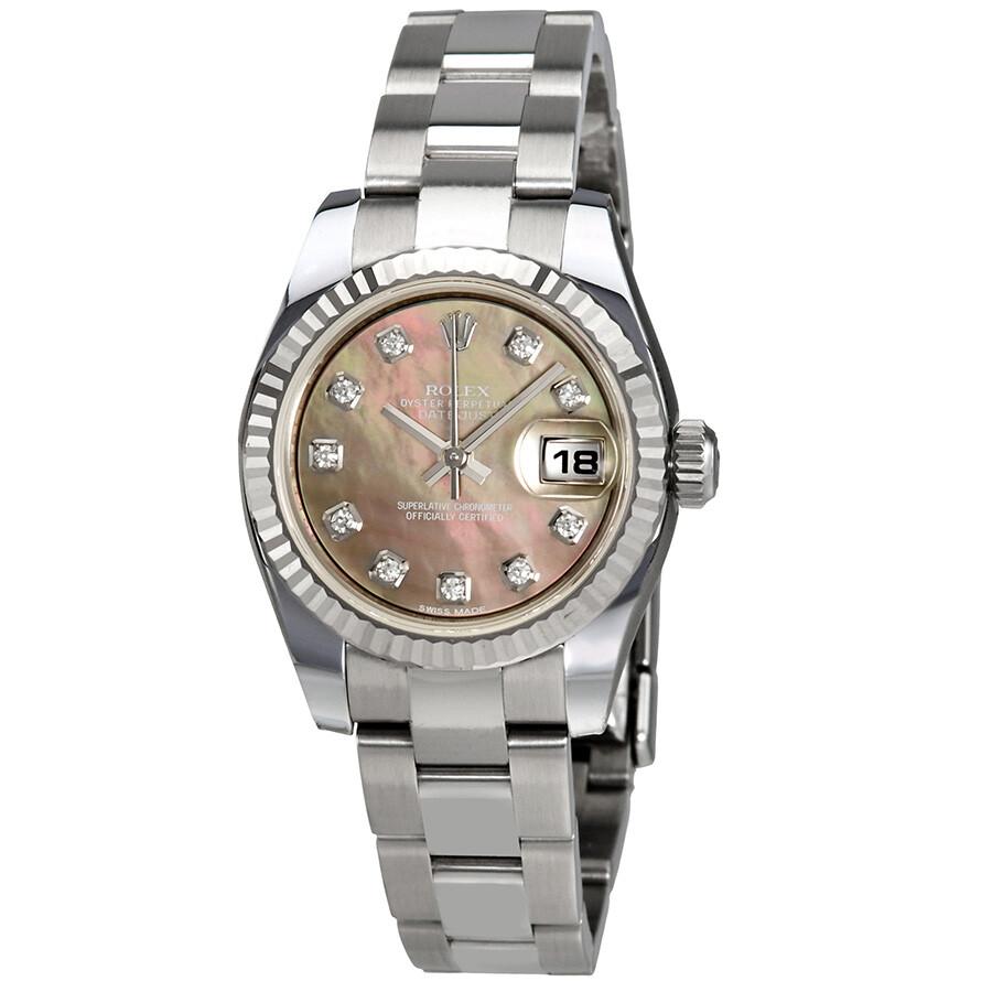 b0f75f823753 Rolex Lady Datejust Black Mother of Pearl Diamond Automatic Watch  179174BMDO ...