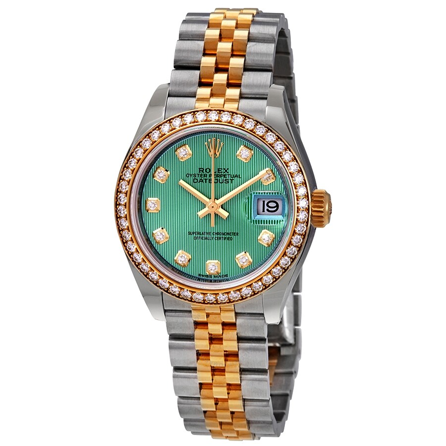 4e64d4eb69d Rolex Lady Datejust Green Stripe Dial Diamond Bezel Automatic Watch  279383GNDJ ...