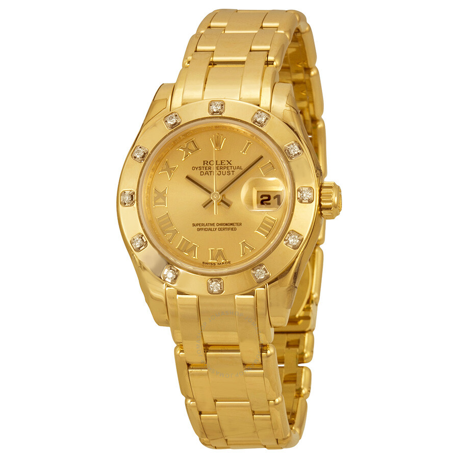 Rolex datejust pearlmaster champagne dial 18kt yellow gold ladies watch 80318crpm lady for Rolex pearlmaster