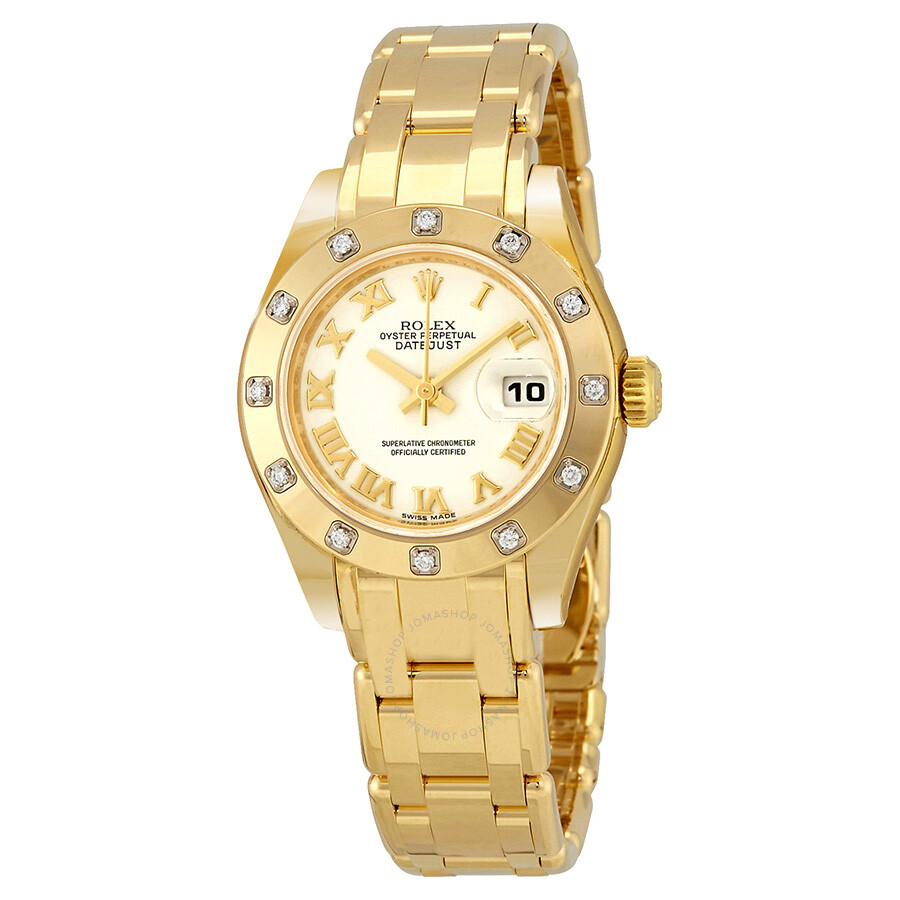 Rolex lady datejust pearlmaster white dial 18k yellow gold automatic ladies watch 80318wrpm for Rolex pearlmaster
