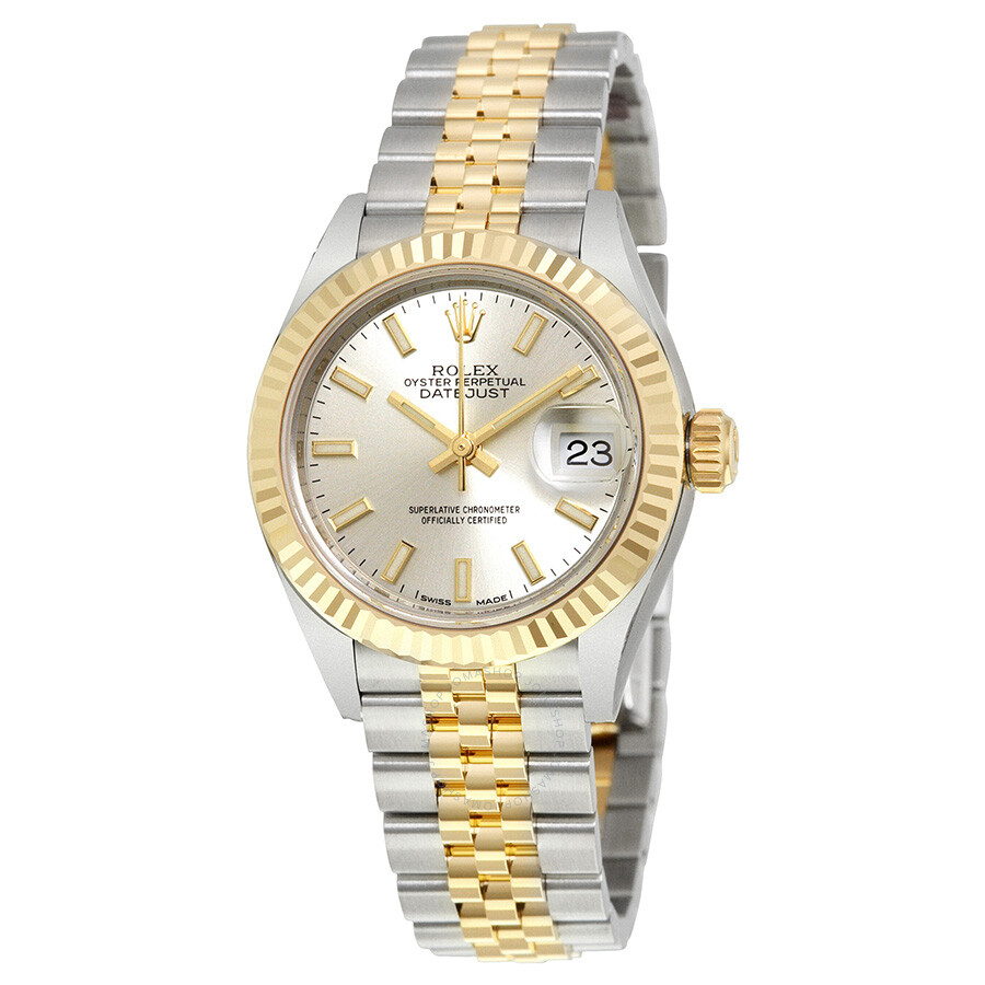 rolex lady datejust silver dial steel and 18k yellow gold. Black Bedroom Furniture Sets. Home Design Ideas