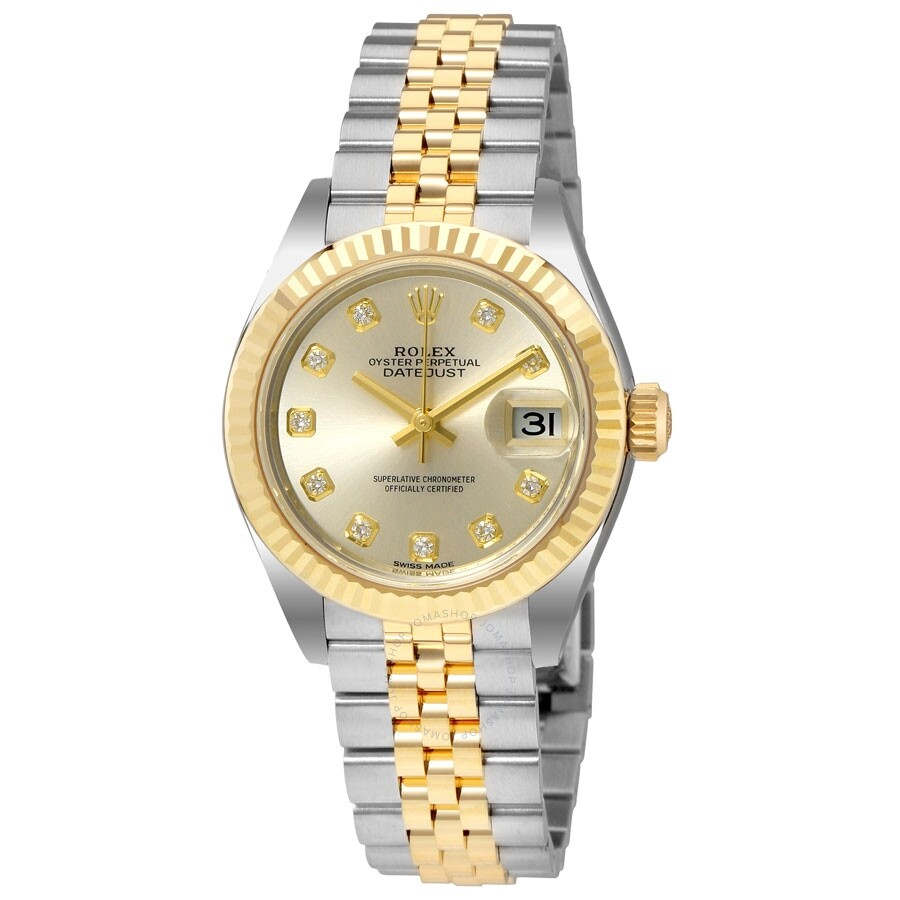 rolex datejust silver steel and 18k yellow gold