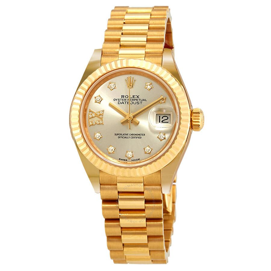 Rolex Lady Datejust Silver Diamond Dial Ladies 18kt Yellow Gold President Watch 279178srdp