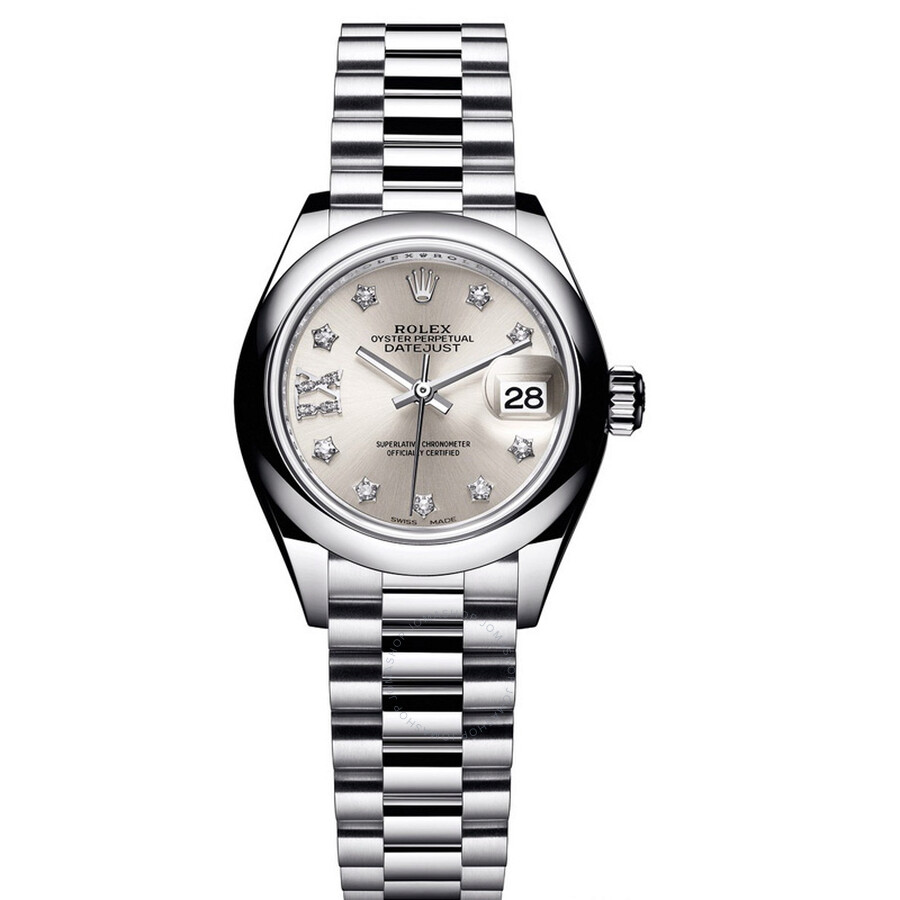 Rolex Lady-Datejust 28 Silver Dial Platinum President Automatic Ladies Watch  Item No. 279166SRDP 953b5c2cf