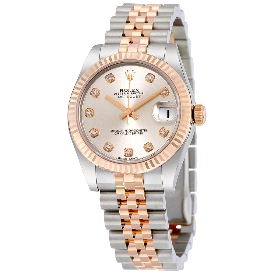 Rolex lady datejust silver diamond dial steel and 18k everose gold jubilee watch 178271sdj for Jubilee watch