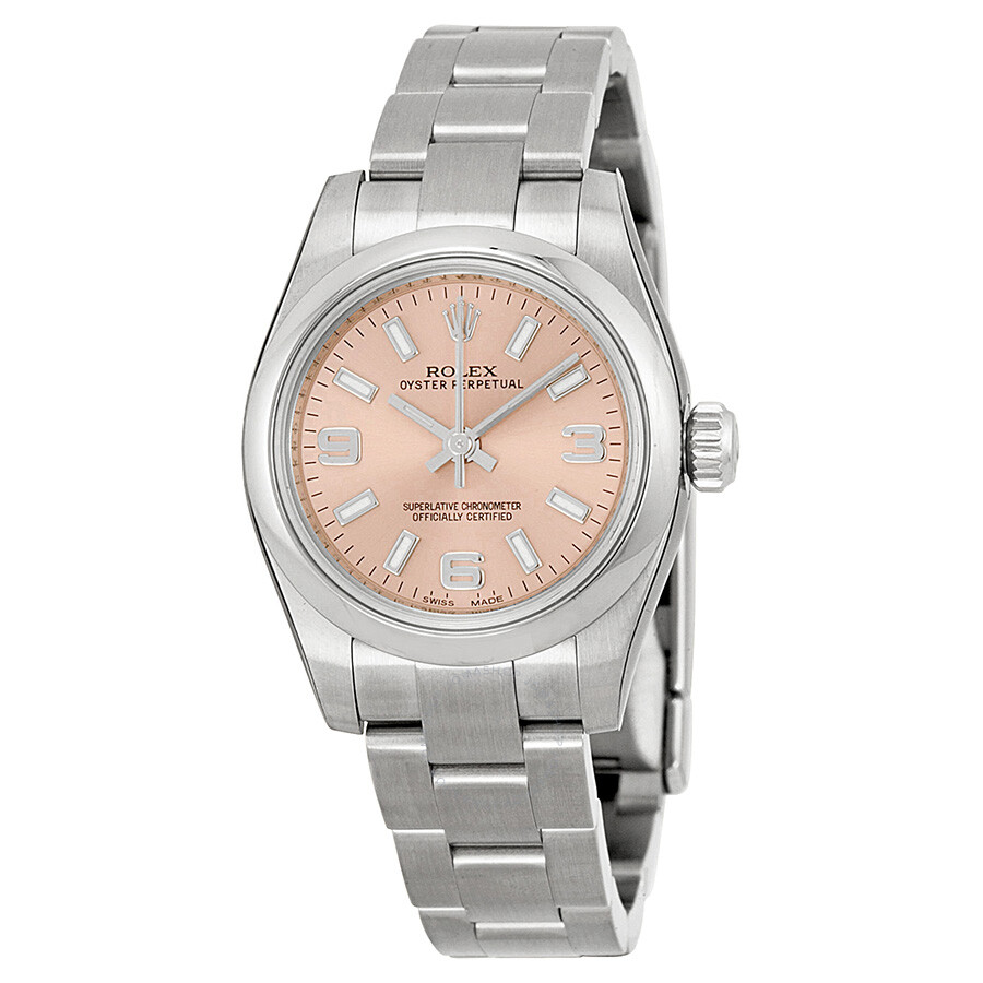 Rolex lady oyster perpetual 26 pink dial stainless steel oyster bracelet automatic watch for Oyster watches