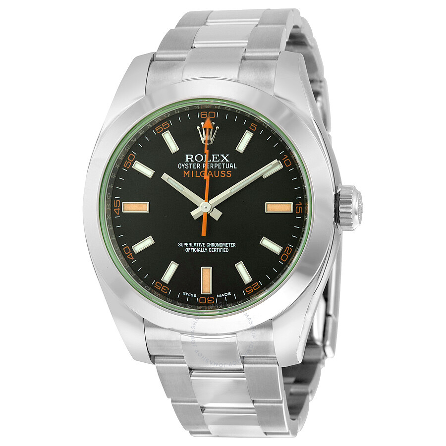 Rolex Milgauss Black Dial Domed Bezel Green Crystal Oyster Bracelet Unisex  Watch 116400V