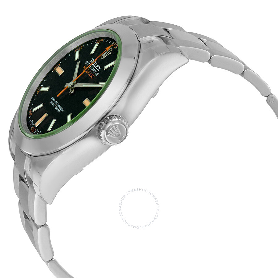 rolex milgauss black domed bezel green oyster