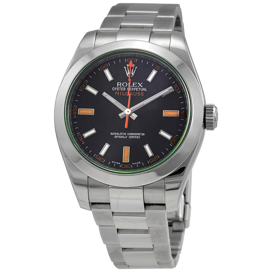 Rolex milgauss black dial domed bezel green crystal oyster bracelet watch 116400v milgauss for Rolex milgauss