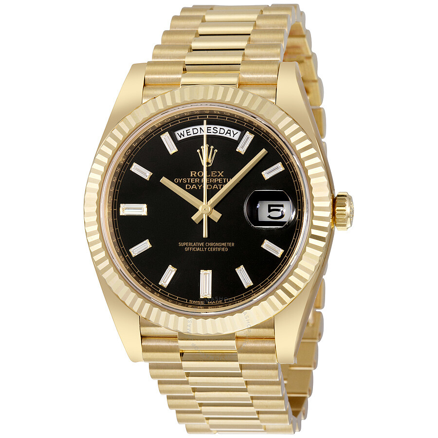 Rolex Oyster Perpetual 18K Yellow Gold Diamond Men\u0027s Automatic President  Watch 228238BKDP