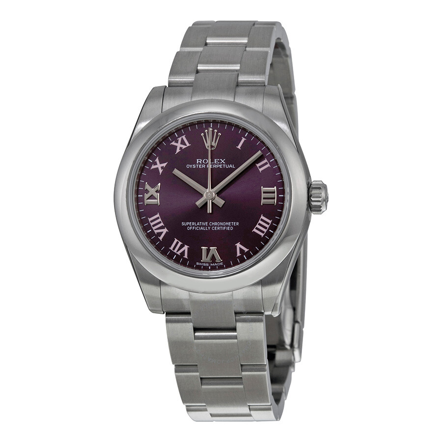 Rolex oyster perpetual 31 mm puple dial stainless steel bracelet automatic ladies watch for Oyster watches