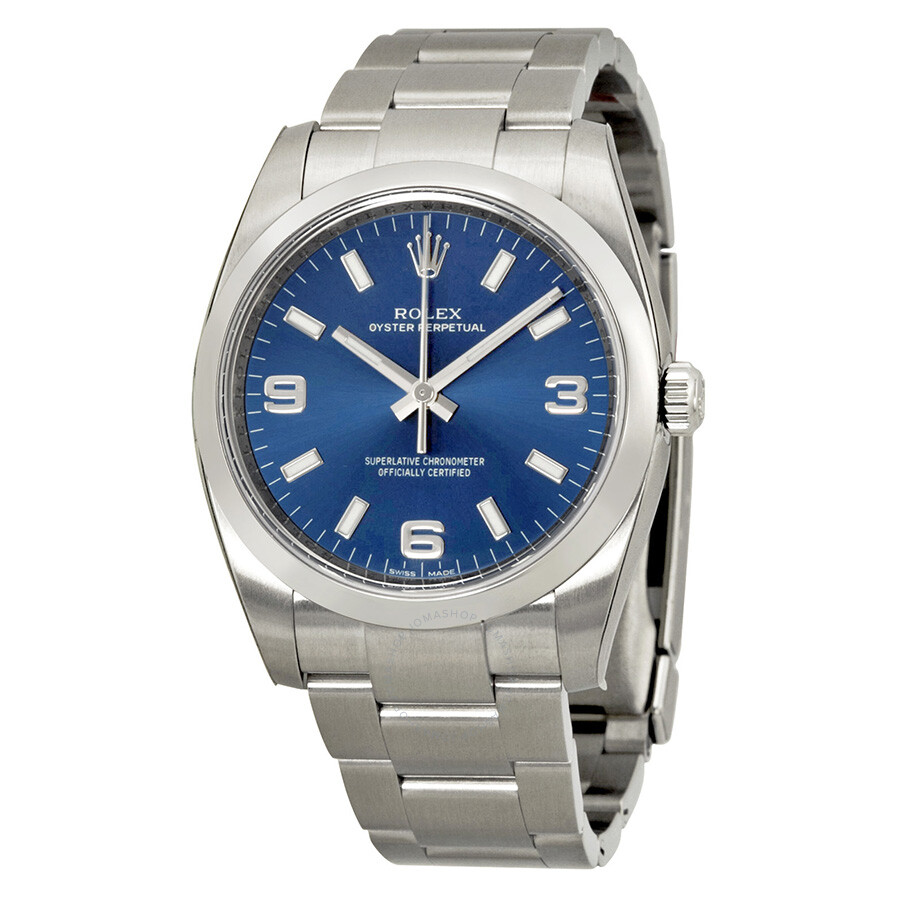Rolex oyster perpetual 34 blue dial stainless steel rolex oyster automatic men 39 s watch for Rolex watch