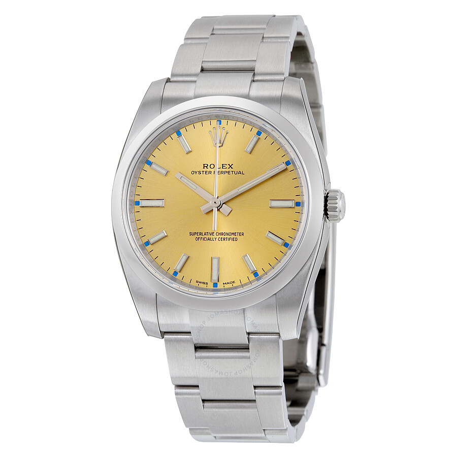 870de1801066e Rolex Oyster Perpetual 34 Champagne Dial Stainless Steel Bracelet Automatic  Men s Watch 114200CSO ...